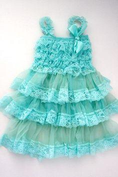 Smitten Vintage Lace Dress - AQUA BLUE