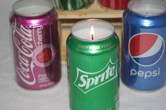"""Soda """"Can""""dles, Soda Pop Candles, Cola Candles, Upcycled Soda Cans"""