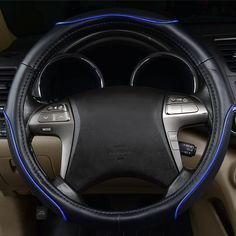 CAR PASS Colour Piping Leather Universal Fit Steering Wheel Cover,Perpectly fit for Suvs,Vans,Trucks,Sedans,Cars Black and Mint