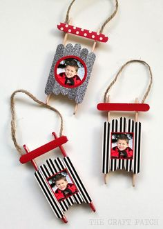 Popsicle Stick Sled Ornament with photos. Perfect craft for kids to give to grandparents!