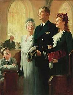 andrew loomis art images bride | Illustration House, Inc - Naval Officer and family walk down aisle of ...