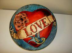 Sunday Sweets: The Love Connection — Cake Wrecks Tattoo Cake, Rockabilly Wedding, Heart Cakes, Painted Cakes, Decorated Cakes, Love Connection, Retro Tattoos, Cake Wrecks, Valentine Cake