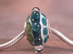 Boro Lampwork Euro Charm Bead Sterling Cored & Capped Lines and Dots Blues and Greens Divine Spark Designs SRA LeTeam