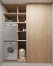 This has to be one of the smartest uses of small spaces I've seen in a long time. Who also loves this innovative design? Laundry Cupboard, Laundry Closet, Laundry Rooms, Small Rooms, Small Spaces, Closet Curtains, Architecture Life, Trondheim, Laundry Room Design