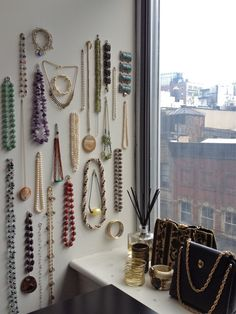 jewelry wall. #diy #organization #display #necklaces #wallhanging #bedroom