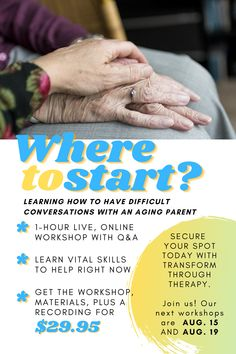 """NEW SPOTS AVAILABLE! Join us on August 15 or August 19 for our """"Where To Start: Having Difficult Conversations with Aging Parents"""" workshop. Only $29.95!  • As parents age, there are a lot of hard things that need to be said—living arrangements, driving ability, among others. Learn how to effectively approach these topics with your aging parent. • • • #agingparents #difficultconversations #caregiver #caregiving #onlinetherapy #teletherapy #grief #elderly #mentalwellness #caregiverquotes… Caregiver Quotes, Senior Center, Difficult Conversations, Aging Parents, Grief, Workshop, Therapy, Parenting, Learning"""