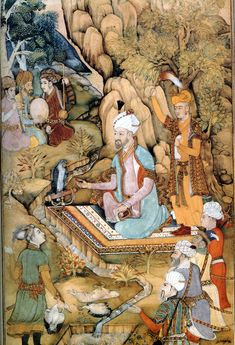 The first Mughal Emperor Babur dressed in a kaftan.