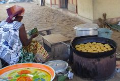 Plantain and Palm-Oil Fritters in Cote d′Ivoire
