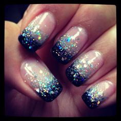 Definitely my Christmas 2014 nails.... Reverse French manicure and pewter glitter