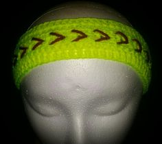 Softball headbands. Bright yellow color of a softball with dark red stitching. $7 plus shipping. Delta Belle Crochet and More by Brandylin Pensis.