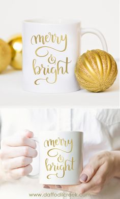 """Merry and Bright - Gold Foil Christmas Mug! """"May your days be merry and bright, and may all your Christmases be white!"""" A lovely Christmas mug with thephrase Merry & Bright in stunning gold foil. This is a perfect way to enjoy a warm holiday mug!"""