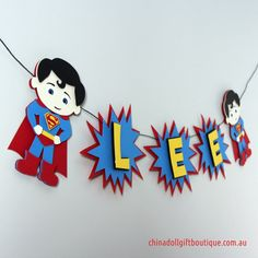 superman party bunting personalised with name por chinadollparty