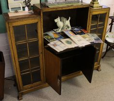 Art Deco Oak Library and Display Case