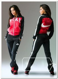 #sportswear #tracksuit Stylish ladies black and coral zip-up tracksuit