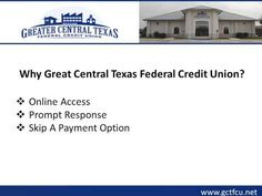 If you are looking for secured auto loan at low interest rates, consider Greater Central Texas Federal Credit Union (GCTFCU).  The agents at the credit union assist the clients in framing a policy according to their needs and budget. The credit union also offers a wide range of online services to its members. To know more about the secured auto loan, visit : http://www.gctfcu.net