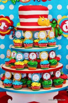 up close Dr. Seuss cupcake tower
