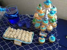 Pool party baby shower boy