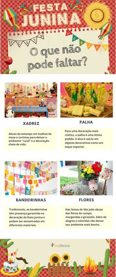 Infográfico - Decoração Festa Junina Fiesta Decorations, Party Decoration, Diy Crafts Videos, Diy And Crafts, Mickey Party, Tropical Party, Diy Hairstyles, Open House, Party Time