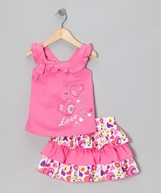 Take a look at this Pink Love Tank & Skirt - Infant, Toddler & Girls by Littoe Potatoes on #zulily today!