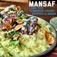 Mansaf. A traditional Jordanian dish made of Lamb, rice, fermented yogurt and delicious roasted almonds.