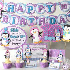 Penguin Party  Banner Penguin Cake Topper by bcpaperdesigns, $50.00