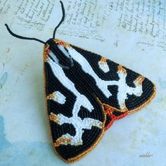 Bead Embroidered Brooch - Wood Tiger Moth (Parasemia Plantaginis)