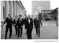 Groomsmen in downtown Winston-Salem | Shane and Jessica's North Carolina Wedding | Image ©2013 Glessner Photography