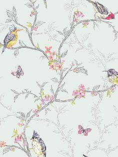 Phoebe Birds Wallpaper - Soft Teal - 98083