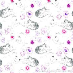 cats flowers pattern