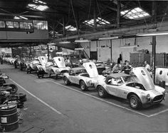 Print Carroll Shelby AC Cobra Assembly Line Ac Cobra, Ford Shelby Cobra, Shelby Car, King Cobra, Shelby Gt500, Carroll Shelby, Mustang Fastback, 1967 Mustang, Us Cars