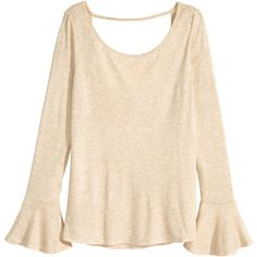 H&M Low-cut jersey top ($20) ❤ liked on Polyvore featuring tops, light beige, long sleeve tops, h&m tops, flounce top, ruffle top and beige top