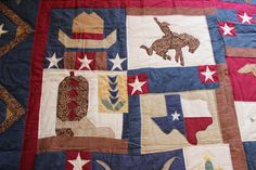 Vintage Texas Quilt Lone Star of Texas Yellow Rose by KimberlyHahn, $890.00 Marshall Pottery, Western Quilts, Texas Quilt, Texas Western, Custom Aprons, Chenille Bedspread, Special Pictures, Crystal Glassware, Boy Quilts