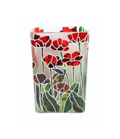 Hand Painted Glass Vase glass candle holder floral design stained glass botanical red Poppies green white Christmas Gift on Etsy, $150.00