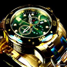 Mens Invicta Pro Diver Scuba Gold Plated Chronograph Green Watch New Stylish Watches, Luxury Watches For Men, Cool Watches, Rolex Watches, Man Watches, Casual Watches, Expensive Watches, Audemars Piguet, Watch Sale