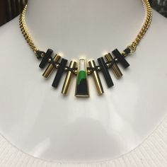 """Vince Camuto Painted Stone Bar Bib Necklace- NWT Vince Camuto Painted Stone Bar Bib Necklace - Green ; Details- Gold plated painted glass stone with alternating cord wrapped polished bar bib chain necklace- Lobster clasp- Approx. 18"""" length with 2"""" extension - Imported Materials: Gold plated base metal, resin, glass, nylon. TAGS ATTACHED- RETAIL $108.00 Vince Camuto Jewelry Necklaces"""