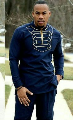 Gold embroidered Africanshirt for men. Long sleeves, made in navy blue polished cotton fabric. The set includes a shirt and pant. Other colors are available. Custom order available, wholesale available( comes with discount). All our outfits are made with great fabrics and we use great