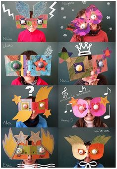 Make silly masks in art class and have a mock photo booth for the kids. Kids Crafts, Projects For Kids, Art Projects, Project Ideas, Diy With Kids, Kids Diy, Arte Elemental, Classe D'art, Masks Art