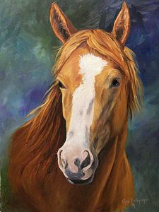 Equestrian Painting - Blaze Face by Cheri Wollenberg