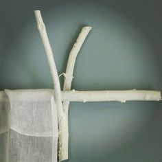 white twig curtain rods