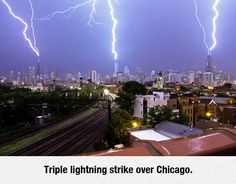 Storm . triple lightning strikes across Chicago usa