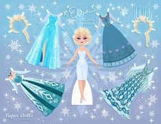 For Your Princesses…Free Disney inspired paper dolls! This is Elsa, one of many Disney paper dolls designs. Chick for more Frozen patterns.