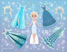 Free Disney inspired paper dolls, Elsa paper doll, Elsa, Disney Frozen, Frozen paper dolls