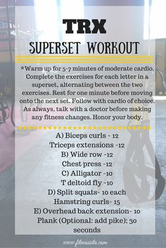 TRX Superset Workout - The Fitnessista Trx Full Body Workout, Workout Warm Up, Trx Workout Plan, Workout Men, Cardio Workouts, Workout Routines, Fitness Workouts, Trx Suspension, Suspension Training