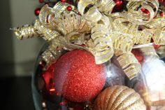 Unique Christmas Centerpiece  Red and Gold by PreserveMyMemories