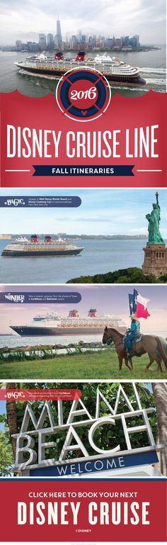 🔷🔷🔷 Get a cruise 🚢🚢🚢 for half price or even for free!🗽❤ Real deal!🌎🌎🌎klick for more details.✔✔✔ In Fall of 2016, Disney Cruise Line is making a much anticipated return to New York City and the great state of Texas! Click to learn more about these itineraries.
