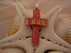 Gold and Red Dichroic Fused Glass Cross by RyanstonesFusedGlass, $20.00