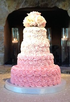 This ombre @Mandy Bryant Bryant Dewey Seasons Resort and Club Dallas at Las Colinas wedding cake was pretty in every shade of pink.