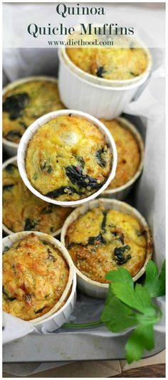 Delicious, savory, crustless quiche muffins made with spinach, cheese and quinoa
