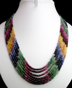beaded jewelry museum | ... Green Emerald Ruby Blue Yellow Sapphire Gemstone Beads Necklace | eBay