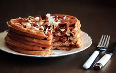 COCONUT WAFFLES recipe - have a subtle, comforting flavor. Whole wheat waffles, infused with coconut milk and flaked coconut pieces in the batter, are crisp outsides and soft inside. Top with flaked, toasted coconut and maple syrup.